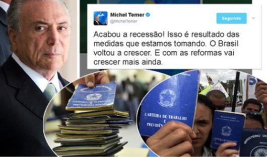 Depois de desempregar 2,6 milhões, Temer diz que acabou a recessão