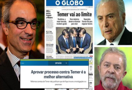 Globo pede fora Temer e diz que pega mal uma Justiça que só bate em Lula