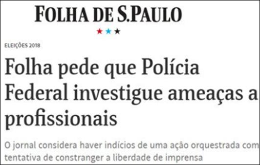 Folha pede proteção contra ameaças a jornalistas