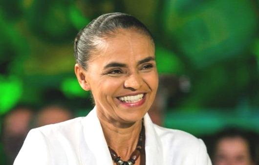 Candidata Marina Silva em coletiva de imprensa após ficar na terceira colacação no  primeiro turno da eleição presidencial de 2014.
