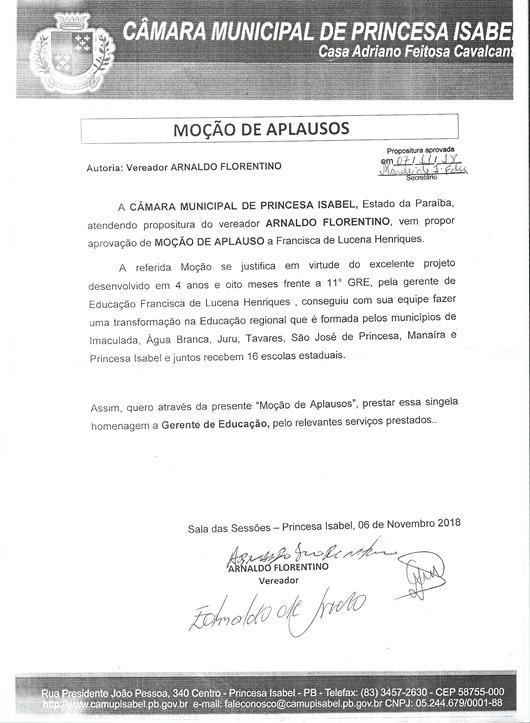 Moção de Aplauso_Arnaldo de Zé da Laje