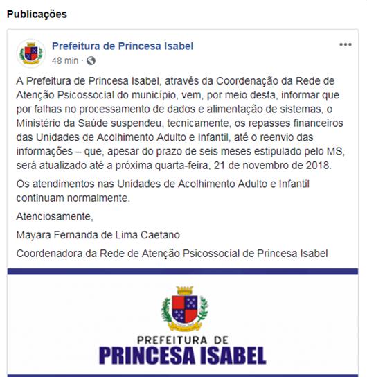 Nota da Prefeitura de Princesa Isabel
