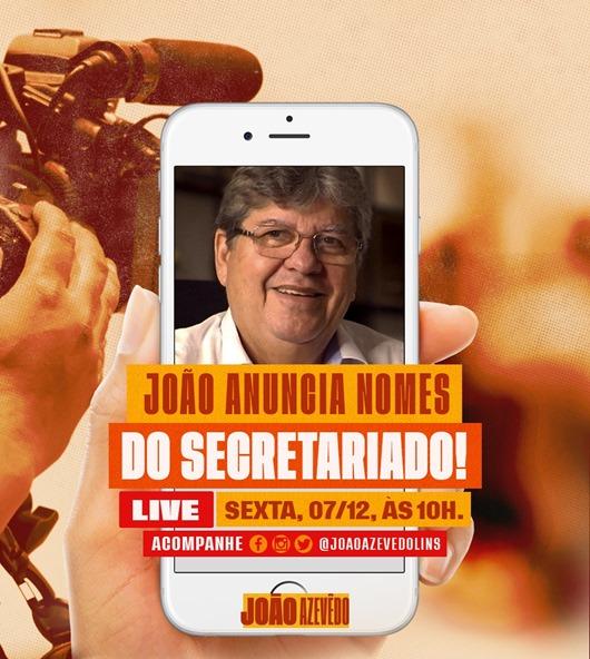 João Azevêdo_anúncio do secretariado nas redes sociais