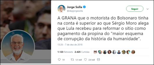 Solla ironiza Moro sobre o maior esquema de corrupção da história da humanidade