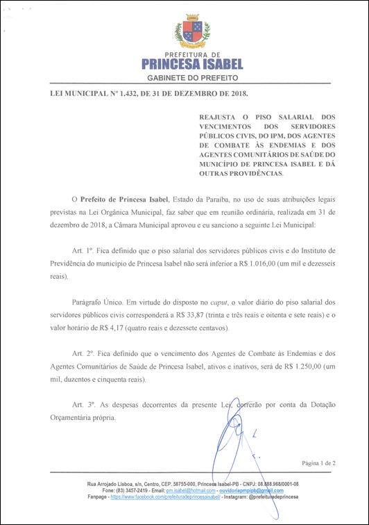 Lei Municipal nº 1.432 - Pag. 01