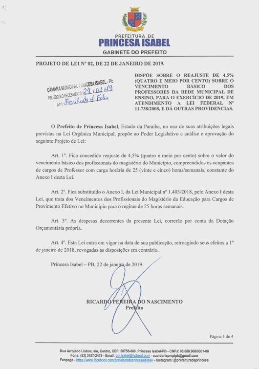 Projeto de Lei 02-2019