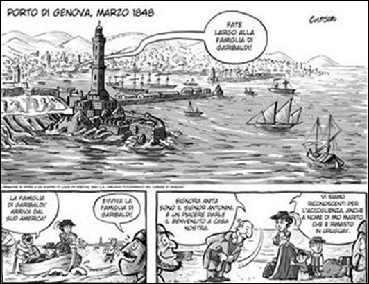 Reprodução da capa e de uma página da HQ  Anita Garibaldi: o nascimento de uma heroína, na tradução para o italiano.