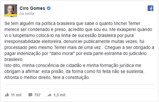ciro gomes-Fcebook