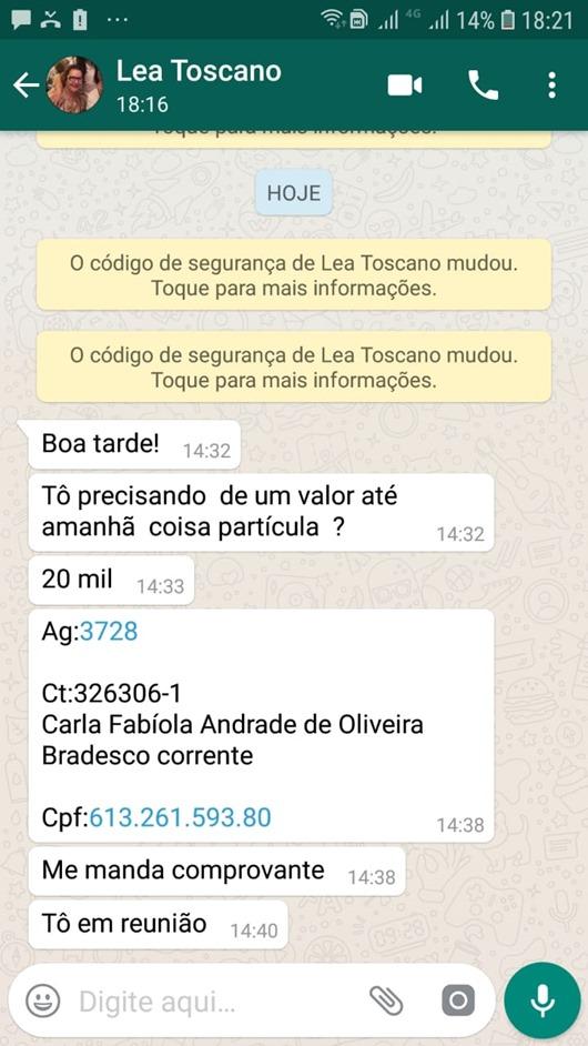 Primeira-dama de Guarabira tem WhatsApp hackeado