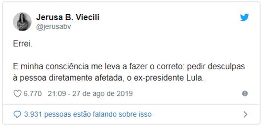 jerusa_Procuradora da Lava Jato reconhece autenticidade da Vaza Jato e pede desculpas a Lula