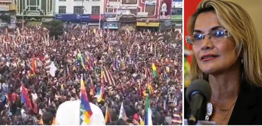 Multidão toma as ruas contra o golpe e pede renúncia de presidenta autoproclamada da Bolívia