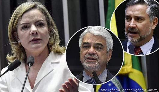 Presidente do PT, Gleisi Hoffmann, e líderes Humberto Costa e Paulo Pimenta -Foto da Agência Sen