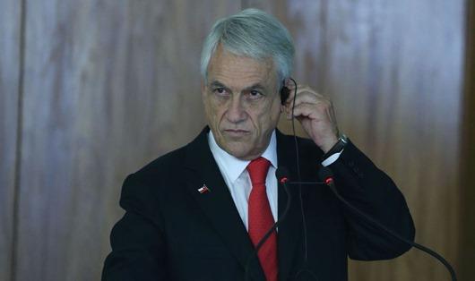 O presidente do Chile, Sebastián Piñera, durante declaração à imprensa, no Palácio do Planalto.