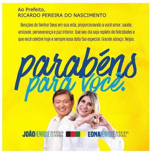 João Henrique e Edna_mensagem_aniversário de Ricardo Pereira