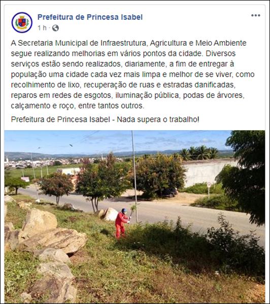 Facebook_Prefeitura de Princesa Isabel