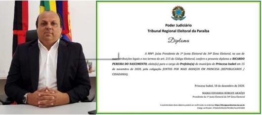 Ricardo Pereira_diploma de prefeito_eleições 2020