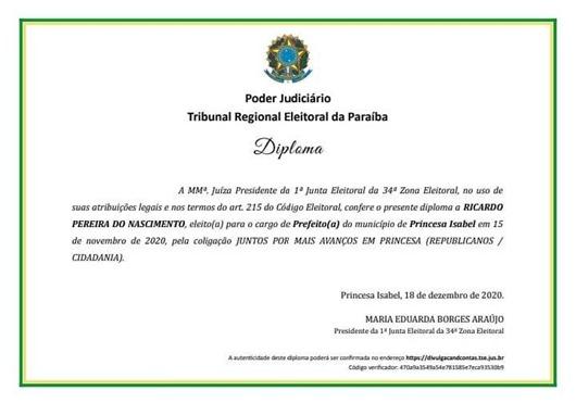 diploma_prefeito Ricardo Pereira