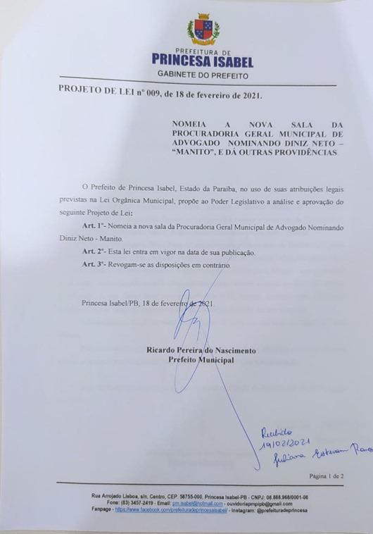 PL_009 2021_Governo de Princesa Isabel