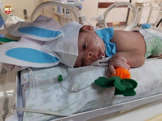 Hospital Edson Ramalho_bebês em fantasias de coelhinho da Páscoa