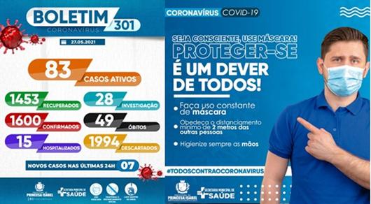 BOLETIM COVID-19_CAMPANHA PREVENTIVA_SECRETARIA DE SÁUDE DE PRINCESA ISABEL