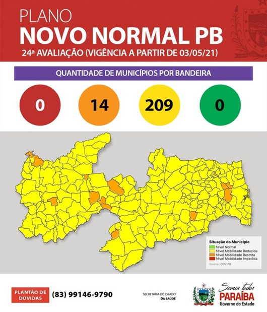 Mapa_Plano Novo Normal Paraíba