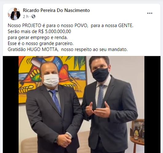 Ricardo Pereira e Hugo Motta_investimentos em Princesa Isabel