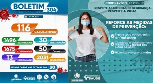 BOLETIM COVID-19_CAMPANHA PREVENTIVA_SECRETARIA DE SAÚDE DE PRINCESA ISABEÇ